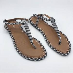 Maurices Gingham Check Plaid T Strap Sandals